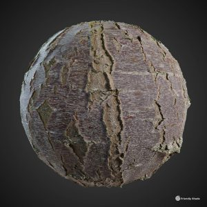 The image shows a sphere with our Birch Tree Bark texture