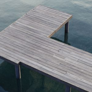The image shows a render made using the dock material from Friendly Shade library