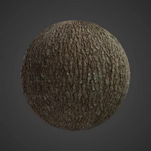 The image shows a sphere with our second Pine Tree Bark texture