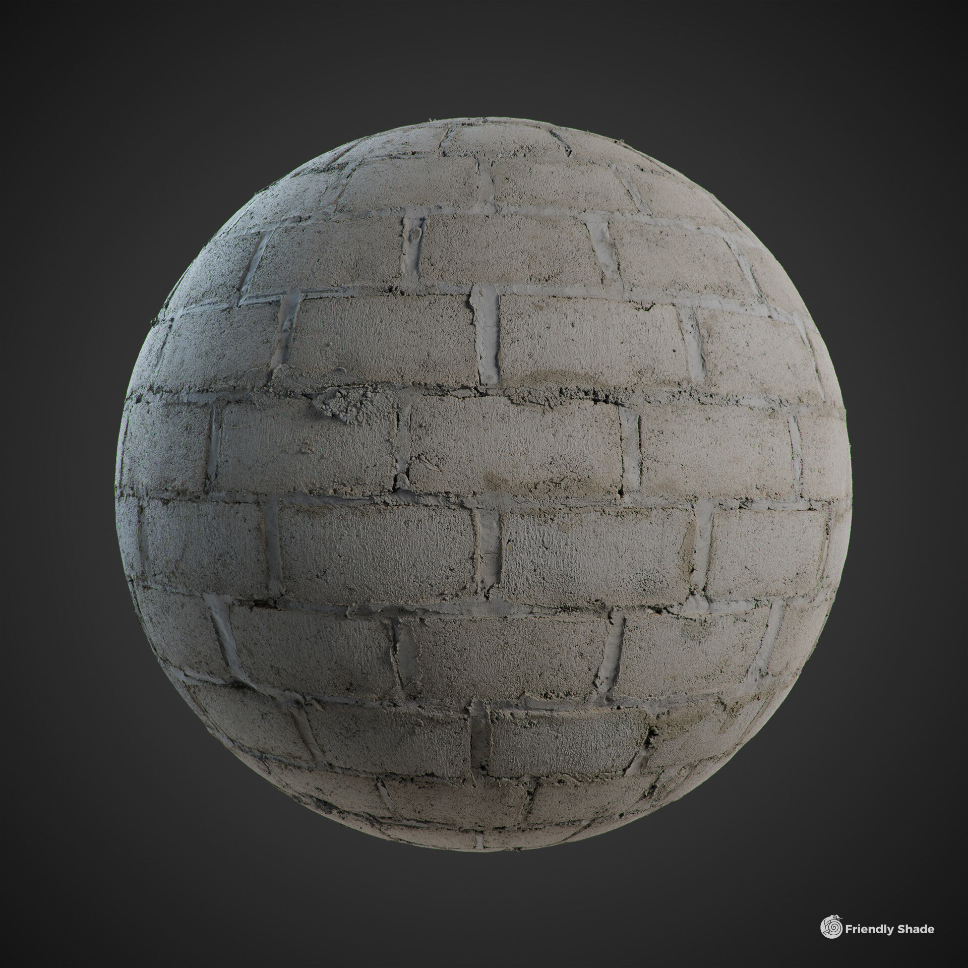 The image shows a sphere with the sloppy blocks texture