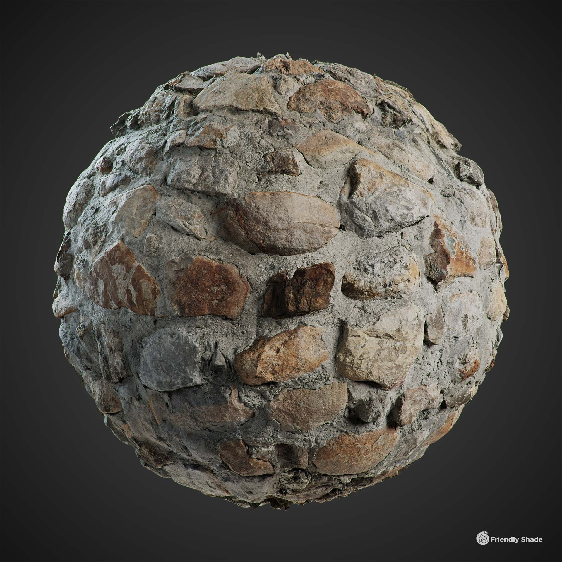 The image shows a sphere with our Cobblestone Wall texture