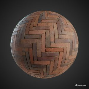 The image shows a sphere render with our Herringbone Pavement texture