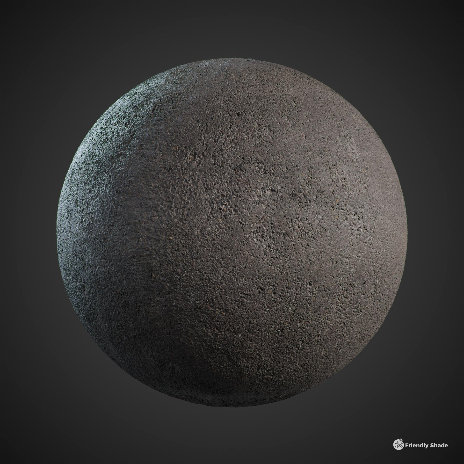 The image shows a sphere with the road asphalt texture provided by Friendly Shade